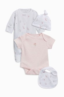 Next Pink Sleepsuit Short Sleeved Bodysuit Bib And Hat (0-9mths)