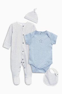 Next Blue Sleepsuit Short Sleeved Bodysuit Bib And Hat (0-9mths)