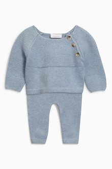 Next Blue Knitted Two Piece Set (0mths-2yrs)