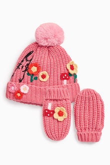 Next Flower Pom Hat And Mitts Set (Younger Girls)