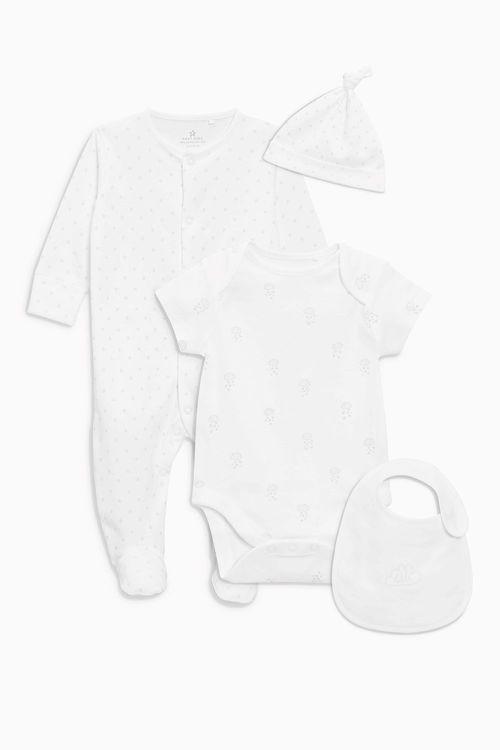 Next Sleepsuit Short Sleeved Bodysuit Bib And Hat (0-9mths)
