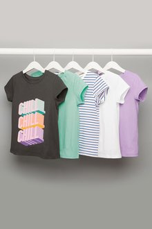 Next Slogan Short Sleeve T-Shirts Five Pack (3-16yrs)