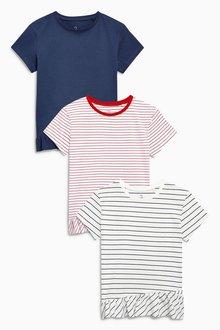 Next Short Sleeve Peplum T-Shirts Three Pack (3-16yrs)