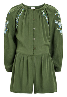 Next Khaki Embroidered Playsuit (3-16yrs)
