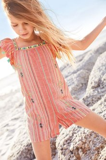 Next Coral Tassel Playsuit (3-16yrs)