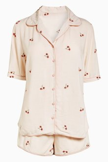 Next Embroidered Floral Button Short Pyjamas