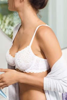 Next Lizzie Cotton Look Lace Non Padded Wired Balcony Bra