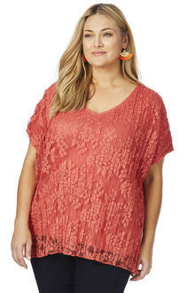 Plus Size - Beme Cap Sleeve Pleat Lace Top