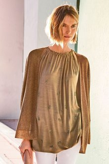 Next Tan With Feather Embellishment Sleeveless Top