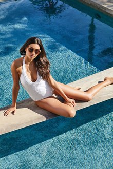 Next White Textured Plunge Swimsuit