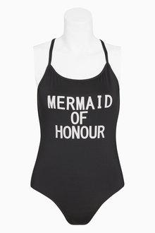 Next 'Mermaid of Honour' Slogan Swimsuit