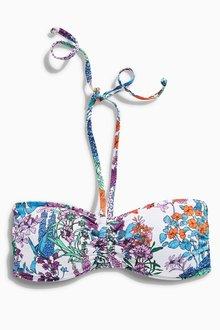 Next White Floral Bandeau Bikini Top
