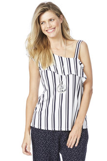 Rockmans Sleeveless Ruffle Stripe Top - 201769
