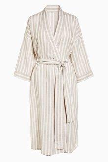 Next Stripe Linen Blend Robe