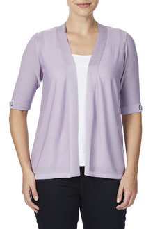 Rockmans Elbow Sleeve Eyelet Detail Trim Cardigan