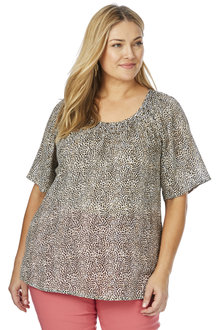 Plus Size - BeMe Short Sleeve Leopard Print Top