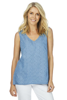 W.Lane Embroidered Chambray Top