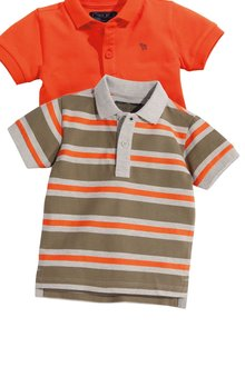 Next Khaki/Orange Short Sleeve Stripe Polo (3mths-6yrs)