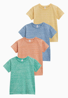 Next Blue/Orange/Yellow/Green Textured Short Sleeve T-Shirts Four Pack (3mths-6yrs)