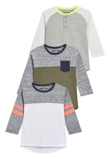 Next Long Sleeve Raglan T-Shirts Three Pack (3mths-6yrs)