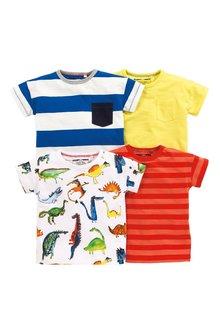 Next Dino Stripe Short Sleeve T-Shirts Four Pack (3mths-6yrs)