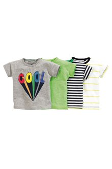 Next Lime/Stripe/Cool Short Sleeve T-Shirts Four Pack (3mths-6yrs)