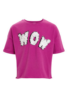 Next Sequin Slogan Short Sleeve T-Shirt (3-16yrs)