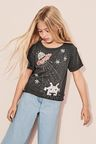 Next Sequinned Graphic Short Sleeve Boxy T-Shirt (3-16yrs)
