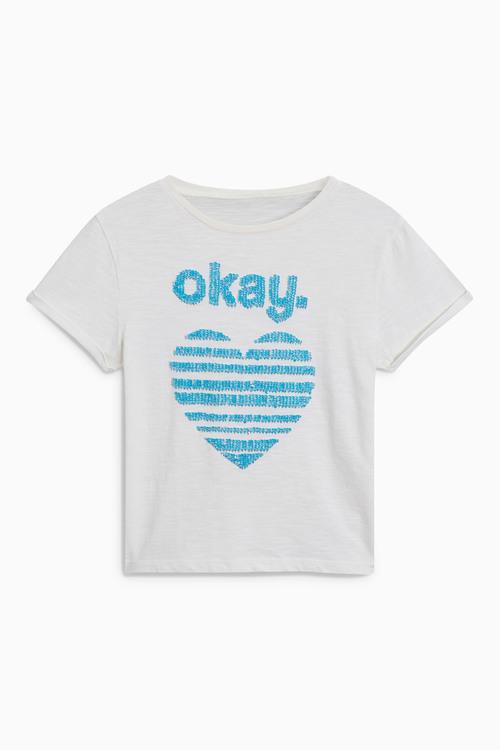 Next Slogan Sequin T-Shirt (3-16yrs)