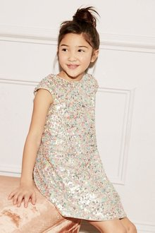 Next Silver Sequin Dress (3-16yrs)