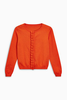 Next Orange Ruffle Placket Cardigan (3-16yrs)