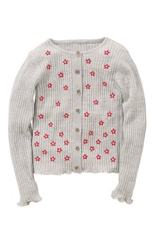 Next Embroidered Ribbed Cardigan (3-16yrs)