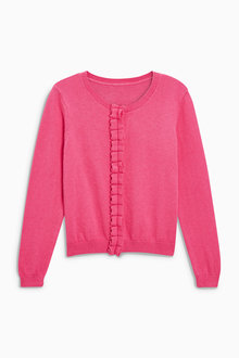 Next Pink Ruffle Placket Cardigan (3-16yrs)