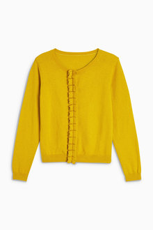 Next Yellow Ruffle Placket Cardigan (3-16yrs)