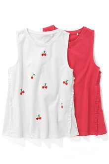 Next Cherry Embroidered Vests Two Pack (3-16yrs)