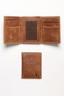 Next Leather Stag Detail Trifold Wallet