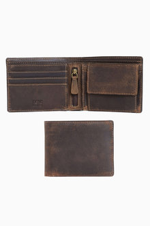 Next Brown Leather Bifold Coin Pocket Wallet