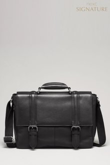 Next Signature Leather Two Strap Briefcase