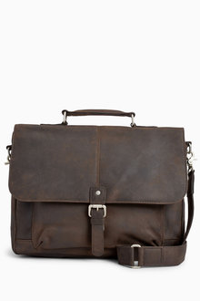Next Signature Leather Oily Briefcase