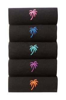 Next Palm Tree Embroidered Socks Five Pack