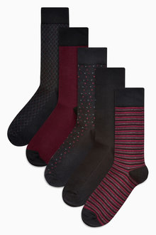 Next Burgundy Small Pattern Socks Five Pack