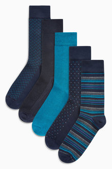 Next Navy/Teal Small Pattern Socks Five Pack