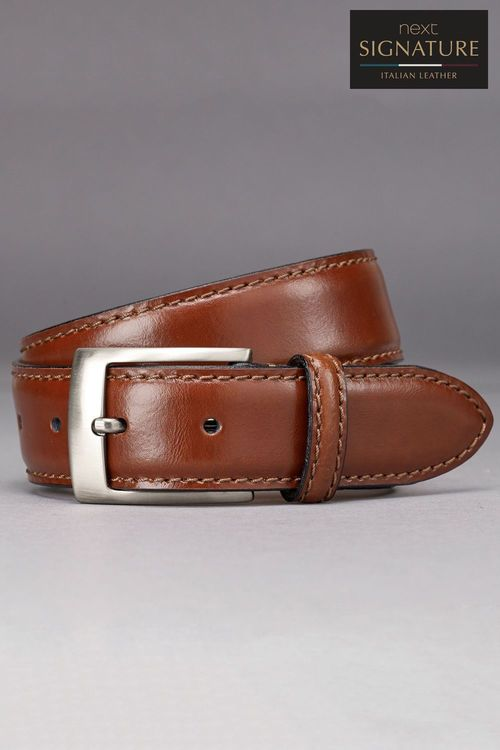 Next Signature Italian Leather Stitched Edge Belt