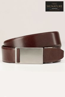 Next Reversible Leather Belt With Plaque Buckle