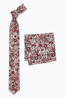 Next Floral Printed Tie And Pocket Square