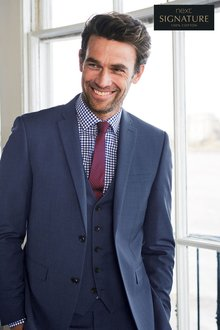 Next Bright Blue Signature Textured Suit: Waistcoat