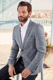 Next Textured Linen Blend Slim Fit Jacket