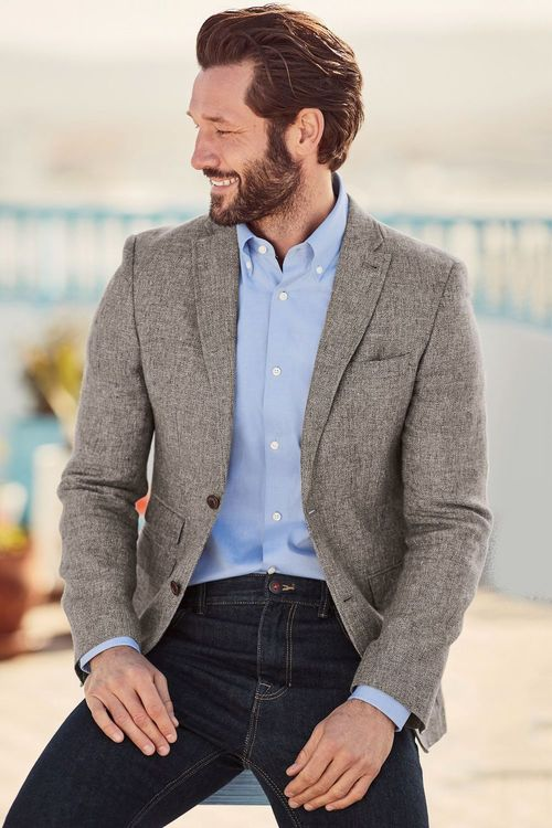 Next Textured Linen Blend Slim Fit Jacket