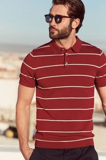 Next Stripe Short Sleeve Knitted Polo