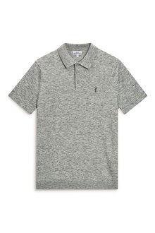 Next Grey Marl Short Sleeve Knitted Polo